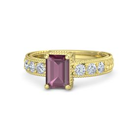 Emerald-Cut Rhodolite Garnet 14K Yellow Gold Ring with Diamond