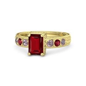 Emerald Ruby 14K Yellow Gold Ring with Rhodolite Garnet and Ruby