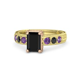 Emerald Black Onyx 14K Yellow Gold Ring with Amethyst and Black Diamond