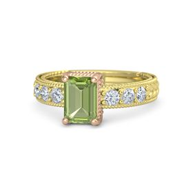 Emerald-Cut Peridot 14K Yellow Gold Ring with Diamond