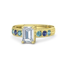 Emerald Diamond 14K Yellow Gold Ring with London Blue Topaz and Blue Sapphire