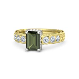 Emerald Green Tourmaline 14K Yellow Gold Ring with Diamond