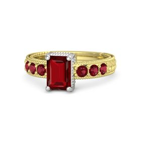 Emerald Ruby 14K Yellow Gold Ring with Ruby