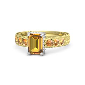 Emerald Citrine 14K Yellow Gold Ring with Citrine