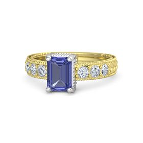 Emerald Tanzanite 14K Yellow Gold Ring with Diamond