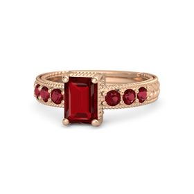 Emerald Ruby 18K Rose Gold Ring with Ruby