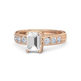 Emerald-Cut Rock Crystal 18K Rose Gold Ring with Diamond