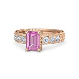 Emerald-Cut Pink Sapphire 18K Rose Gold Ring with Diamond