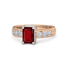 Emerald Ruby 18K Rose Gold Ring with Diamond
