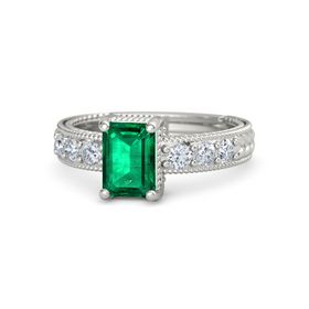Emerald-Cut Emerald 18K White Gold Ring with Diamond