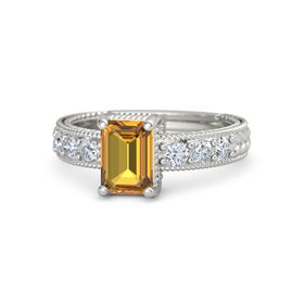 Emerald-Cut Citrine 18K White Gold Ring with Diamond