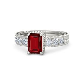 Emerald-Cut Ruby 18K White Gold Ring with Diamond