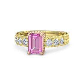 Emerald Pink Sapphire 18K Yellow Gold Ring with Diamond