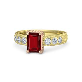 Emerald-Cut Ruby 18K Yellow Gold Ring with Diamond