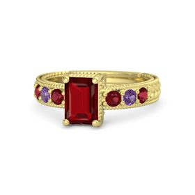 Emerald Ruby 18K Yellow Gold Ring with Ruby and Amethyst