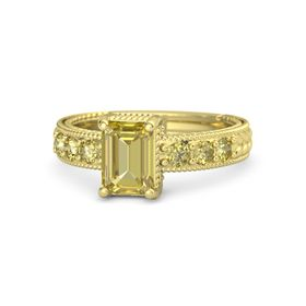 Emerald Yellow Sapphire 18K Yellow Gold Ring with Yellow Sapphire