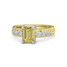 Emerald Yellow Sapphire 18K Yellow Gold Ring with Diamond