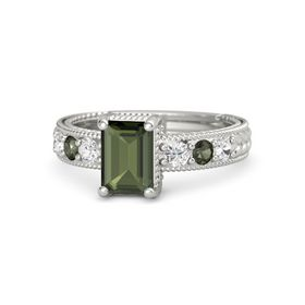 Emerald-Cut Green Tourmaline Palladium Ring with White Sapphire & Green Tourmaline