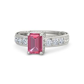 Emerald-Cut Pink Tourmaline Palladium Ring with Diamond