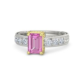 Emerald Pink Sapphire Palladium Ring with Diamond