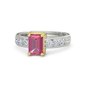 Emerald Pink Tourmaline Palladium Ring with Diamond