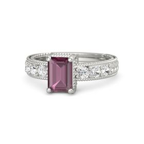 Emerald-Cut Rhodolite Garnet Palladium Ring with White Sapphire
