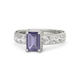 Emerald-Cut Iolite Palladium Ring with White Sapphire