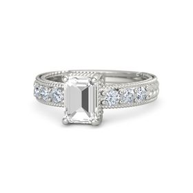 Emerald-Cut Rock Crystal Palladium Ring with Diamond