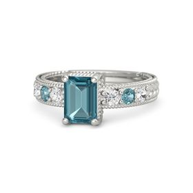 Emerald London Blue Topaz Platinum Ring with White Sapphire and London Blue Topaz