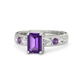 Emerald Amethyst Platinum Ring with White Sapphire and Amethyst