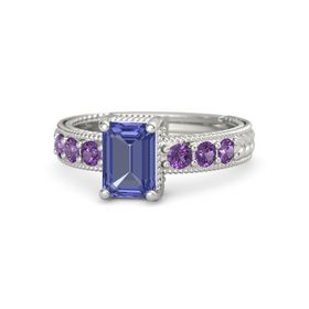 Emerald Tanzanite Platinum Ring with Amethyst