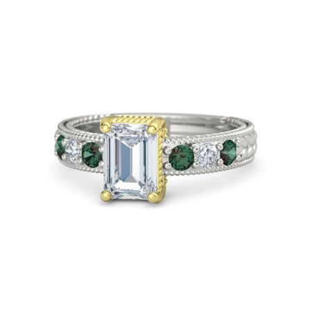 emerald platinum ring with alexandrite and
