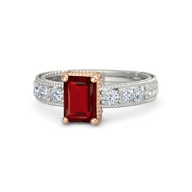 Emerald-Cut Ruby Platinum Ring with Diamond