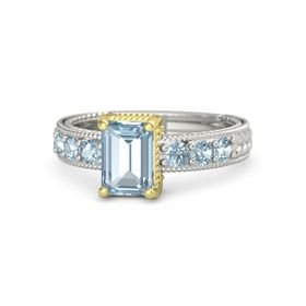 Emerald Aquamarine Platinum Ring with Aquamarine