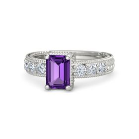Emerald-Cut Amethyst Platinum Ring with Diamond