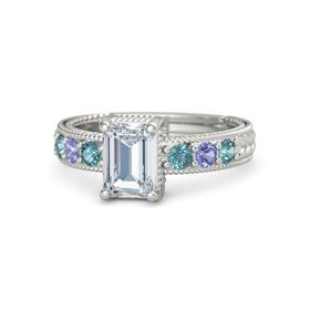 Emerald Diamond Platinum Ring with London Blue Topaz and Iolite