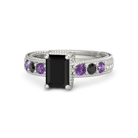 Emerald Black Onyx Platinum Ring with Amethyst and Black Diamond