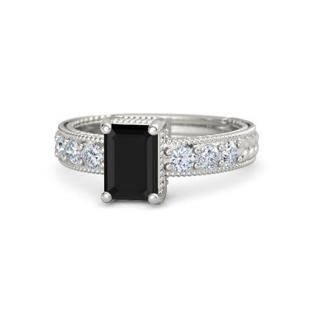 emerald cut black onyx platinum ring with