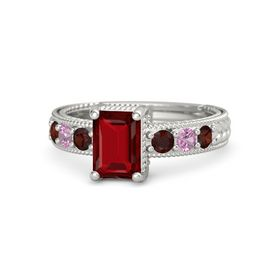 Emerald Ruby Platinum Ring with Red Garnet and Pink Tourmaline