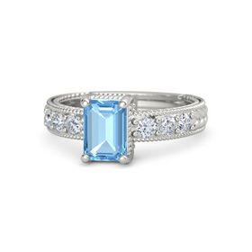 Emerald-Cut Blue Topaz Platinum Ring with Diamond
