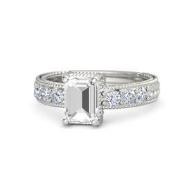 Emerald-Cut Rock Crystal Platinum Ring with Diamond