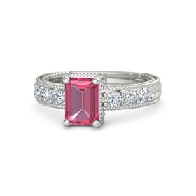 Emerald Pink Tourmaline Platinum Ring with Diamond