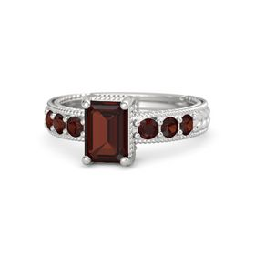 Emerald-Cut Red Garnet Sterling Silver Ring with Red Garnet
