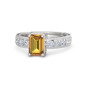 Emerald-Cut Citrine Sterling Silver Ring with Diamond
