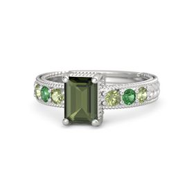Emerald Green Tourmaline Sterling Silver Ring with Peridot and Emerald