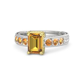Emerald Citrine Sterling Silver Ring with Citrine