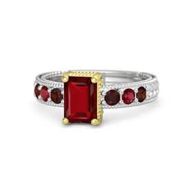 Emerald Ruby Sterling Silver Ring with Red Garnet and Ruby