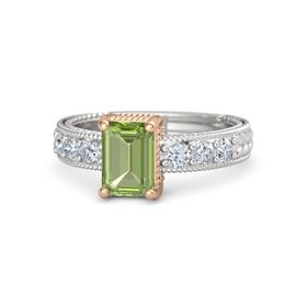 Emerald-Cut Peridot Sterling Silver Ring with Diamond