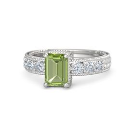 Emerald Peridot Sterling Silver Ring with Diamond