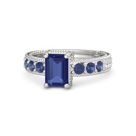 Emerald Blue Sapphire Sterling Silver Ring with Blue Sapphire